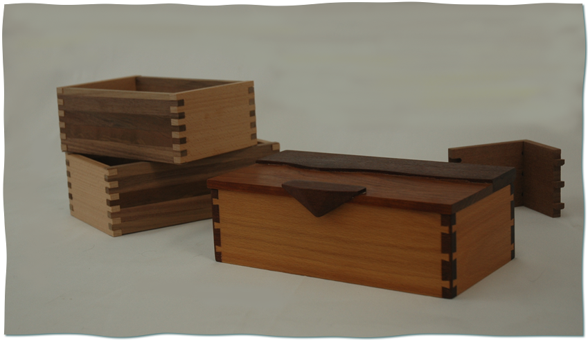 small box built from cherry hardwoods