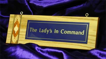 Oak inlaid plaque with metal engraved plate